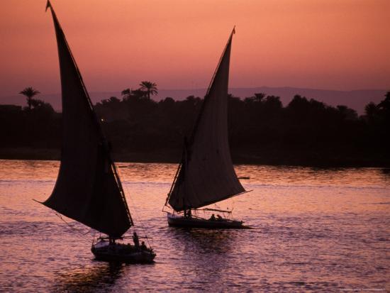Traditional Feluccas Set Sail on the Nile River, Egypt-Nik Wheeler-Photographic Print
