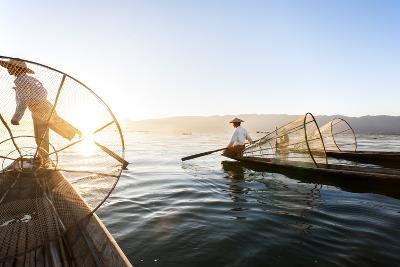Traditional Fisherman on Inle Lake, Shan State, Myanmar (Burma), Asia-Jordan Banks-Photographic Print