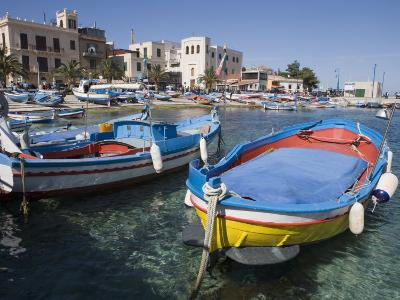 Traditional Fishing Boats, Harbour, Mondello, Palermo, Sicily, Italy, Mediterranean, Europe-Martin Child-Photographic Print