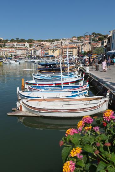 Traditional Fishing Boats Moored in the Harbour of the Historic Town of Cassis, Mediterranean-Martin Child-Photographic Print