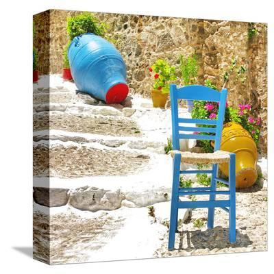 Traditional Greece Village Set--Stretched Canvas Print
