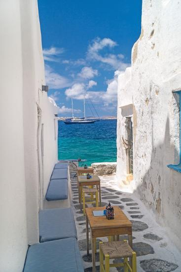 Traditional Greek Alley on Mykonos Island, Greece-papadimitriou-Photographic Print