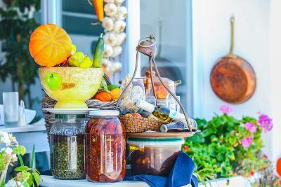 Traditional Greek Food on the Shop Bench in Santorini-TravnikovStudio-Photographic Print