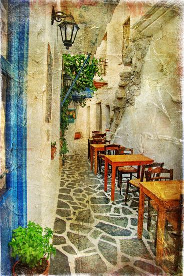 Traditional Greek Tavernas - Artwork In Painting Style-Maugli-l-Art Print