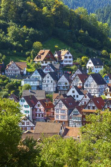 Traditional Half Timbered Buildings in Schiltach's Picturesque Medieval Altstad, Baden-Wurttemberg-Doug Pearson-Photographic Print