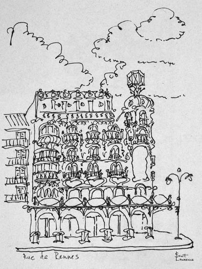 Traditional Haussmann building on Rue de Rennes, Paris, France-Richard Lawrence-Photographic Print