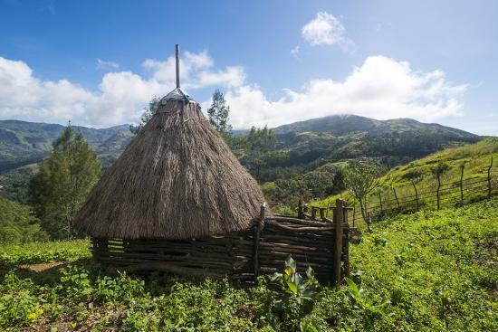 Traditional house in the mountains, Maubisse, East Timor, Southeast Asia, Asia-Michael Runkel-Photographic Print