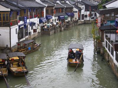 Traditional Houses and Boat on the Grand Canal, Zhujiajiao, Near Shanghai, China-Keren Su-Photographic Print