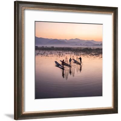 Traditional Intha fisherman, Inle Lake, Shan State, Burma, (MR)-Jan Christopher Becke-Framed Photographic Print
