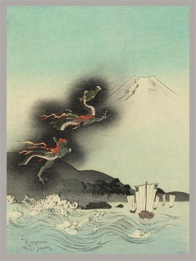 Traditional Japanese Woodcut with Volcano Dragons--Art Print