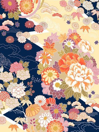 Traditional Kimono Motifs- malamalama-Art Print