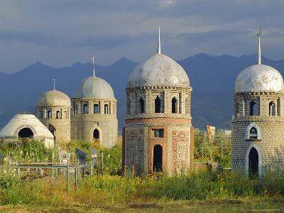 Traditional Kirghiz Cemetary, Near Burana Tower, Kyrgyzstan, Central Asia-Upperhall Ltd-Photographic Print
