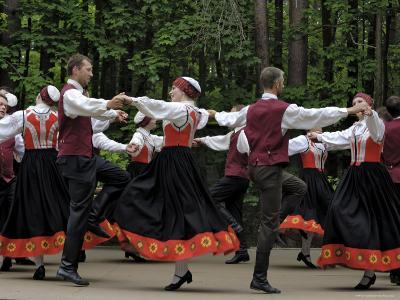 Traditional Latvian Folk Dancing, Near Riga, Baltic States-Gary Cook-Photographic Print