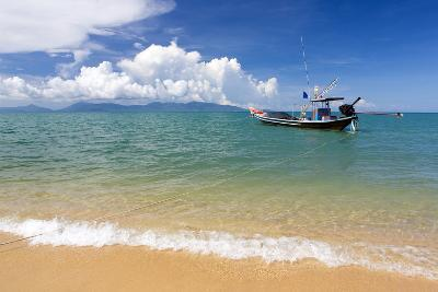 Traditional Long-Tailed Fishing Boat Moored Off Maenam Beach on the North Coast of Koh Samui-Lee Frost-Photographic Print
