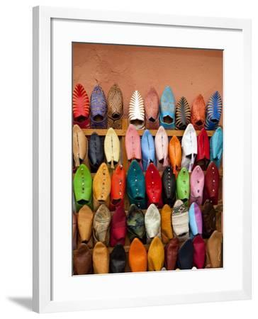Traditional Moorish Slippers, Place Ben Youssef-Huw Jones-Framed Photographic Print
