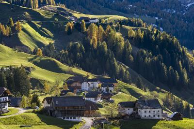 Traditional Mountain Farms Clustered in Hamlets Called Viles in Gader Valley, Alto Adige-Martin Zwick-Photographic Print