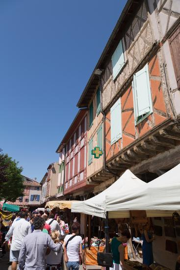 Traditional Outdoor Market in the Historic Town of Mirepoix, Languedoc-Roussillon, France, Europe-Martin Child-Photographic Print