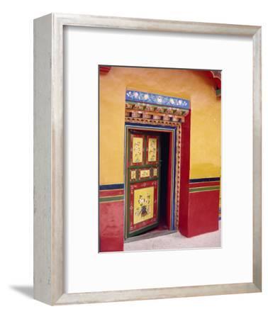 Traditional Painted Door in the Summer Palace of the Dalai Lama, Norbulingka, Lhasa, Tibet, China-Gina Corrigan-Framed Photographic Print