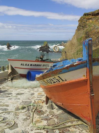 Traditional Portuguese Fishing Boats in a Small Coastal Harbour, Beja District, Portugal-Neale Clarke-Photographic Print