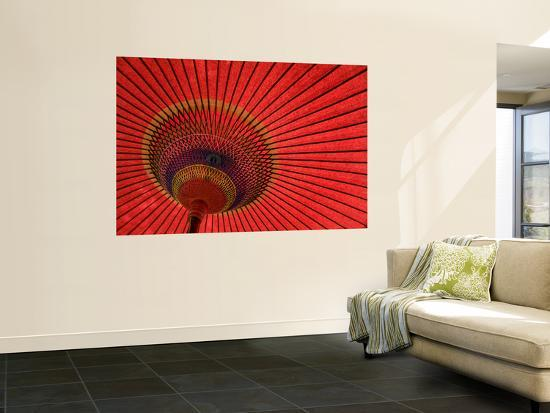 Traditional Red Japanese Paper Umbrella-Rachel Lewis-Wall Mural