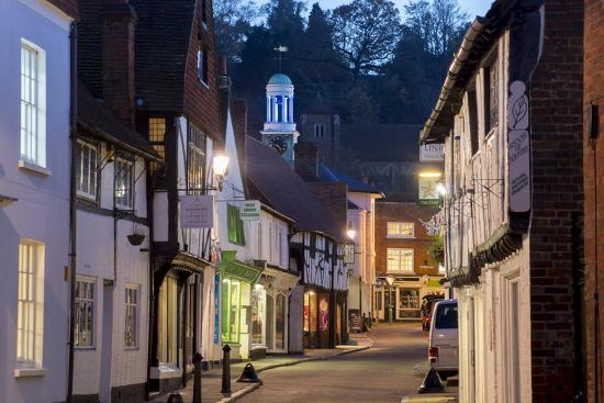 Traditional Street in Godalming is Lit at Dusk-Charles Bowman-Photographic Print