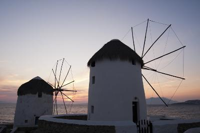 Traditional-Style Windmills on the Coast at Sunset-Sergio Pitamitz-Photographic Print