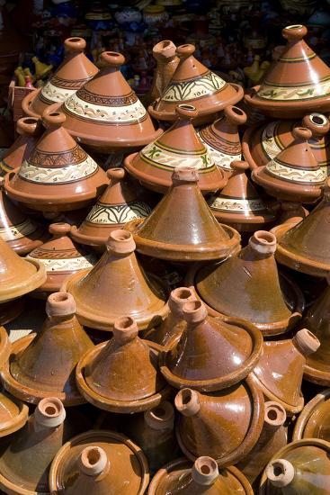 Traditional Tagine Pots, Souk Near Bab Agnou (One of the City Gates), Marrakech, Morocco-Natalie Tepper-Photo