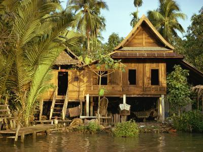 Traditional Thai House on Stilts Above the River in Bangkok, Thailand, Southeast Asia-Sassoon Sybil-Photographic Print