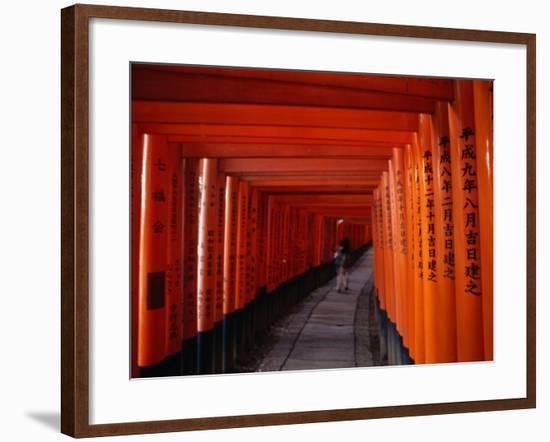 Traditional Torii with Inscription at Fushimi Inari Shrine Near Kyoto, Kyoto, Kinki, Japan-Christopher Groenhout-Framed Photographic Print