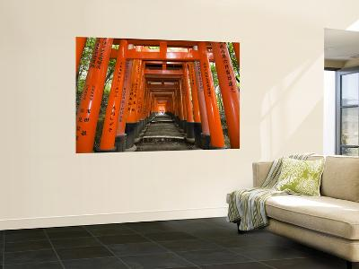 Traditional Torii with Inscriptions at Fushimi Inari Shrine-Christopher Groenhout-Wall Mural