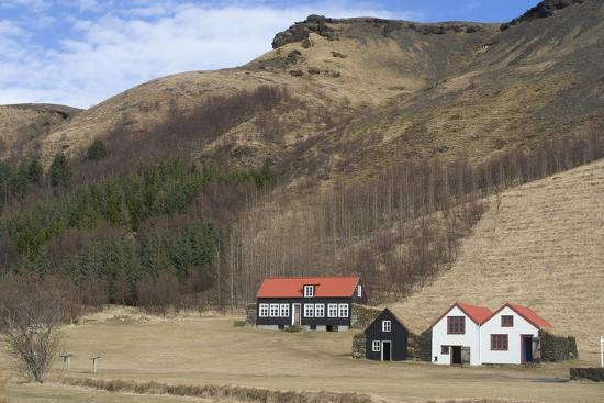 Traditional Turf Half Underground Houses and Old School from the Last Century Near Skogafoss-Natalie Tepper-Photo