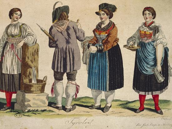 Traditional Tyrolean Costumes--Giclee Print