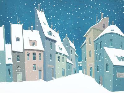 Traditional Urban European Landscape with Snow-polinina-Art Print
