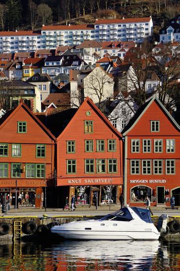Traditional Wooden Hanseatic Merchants Buildings of the Bryggen, Bergen, Norway, Scandinavia-Robert Harding-Photographic Print
