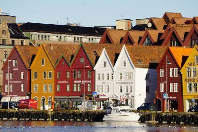 Traditional Wooden Hanseatic Merchants Buildings of the Bryggen, in Harbour, Bergen, Norway-Robert Harding-Photographic Print