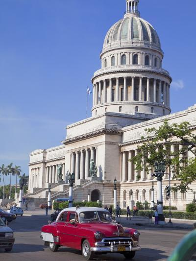 Traditonal Old American Cars Passing the Capitolio Building, Havana, Cuba, West Indies, Caribbean-Martin Child-Photographic Print