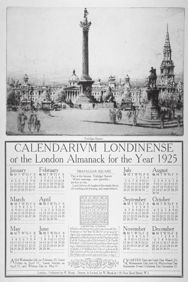 Trafalgar Square, Westminster, London, 1924-William Monk-Giclee Print