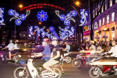 Traffic and Chinese New Year Lights, Ho Chi Minh City, Vietnam, Southeast Asia-Alex Robinson-Photographic Print