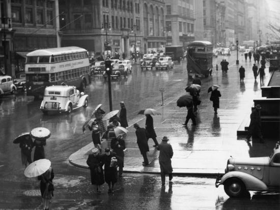 Traffic and People on Rainy City Street-George Marks-Photographic Print