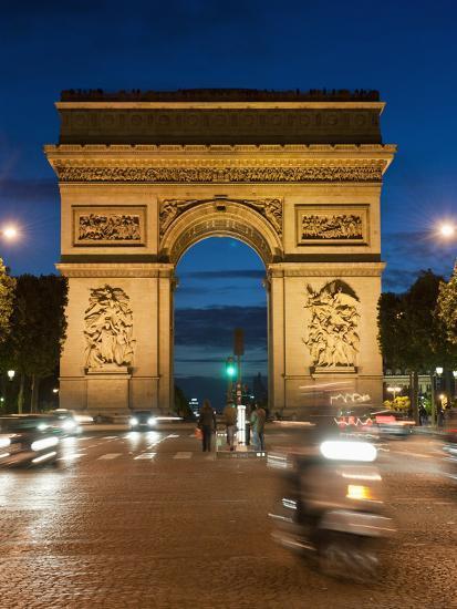 Traffic around Arc De Triomphe, Avenue Des Champs Elysees, Paris, France, Europe-Richard Nebesky-Photographic Print