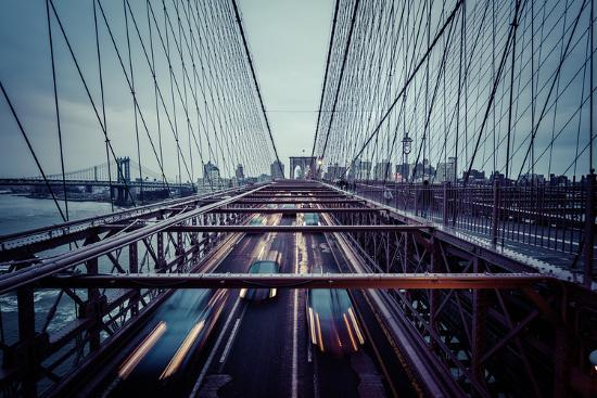 Traffic at Brooklyn Bridge, rainy evening, skyline of Manhattan, New York, USA-Andrea Lang-Photographic Print