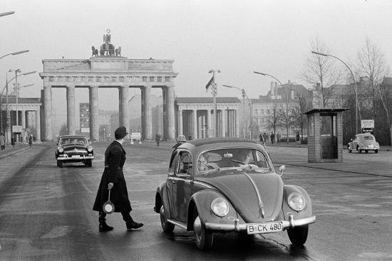 Traffic control at the Brandenburg gate.Refugees reached the West on foot or by subway. Berlin,1959-Erich Lessing-Photographic Print
