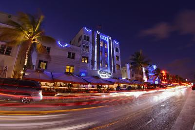 Traffic Early in the Evening in the Art Deco District, Ocean Drive, Miami South Beach-Axel Schmies-Photographic Print