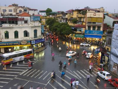 Traffic Intersection, Downtown Hanoi-Austin Bush-Photographic Print