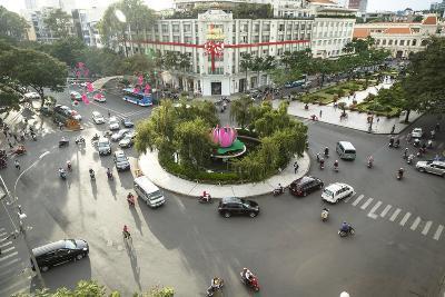 Traffic Intersection Nguyen Hue Boulevard and Le Loi Boulevard, Ho Chi Minh City (Saigon), Vietnam-Yadid Levy-Photographic Print