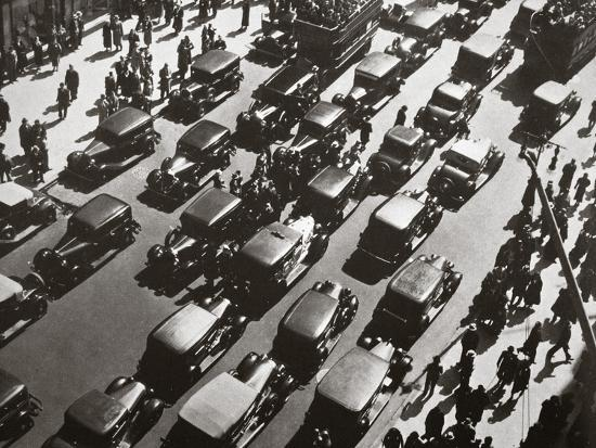 Traffic jam on Fifth Avenue at 49th Street, New York, USA, early 1929-Unknown-Photographic Print