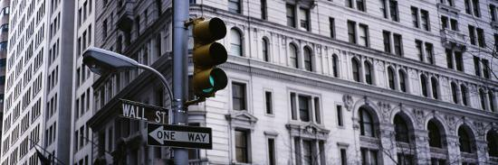 Traffic Light in Front of a Building, Wall Street, New York, USA--Photographic Print