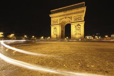 Traffic Light Trails around the Arc De Triomphe; Paris France-Design Pics Inc-Photographic Print
