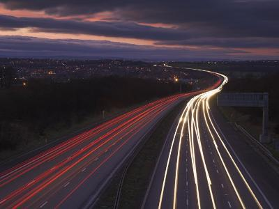 Traffic Light Trails in the Evening on the M1 Motorway Near Junction 28, Derbyshire, England, UK-Neale Clarke-Photographic Print