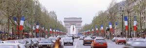 Traffic on a Road, Arc De Triomphe, Champs Elysees, Paris, France